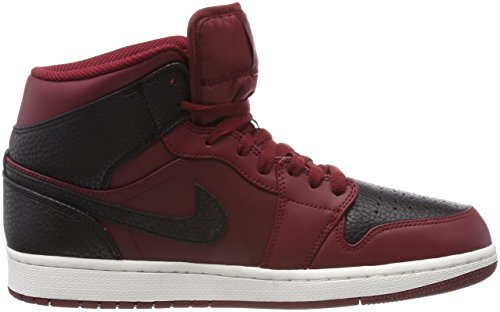 Nike Air Jordan 1 Mid, Sneaker a Collo Alto Uomo Rosso (Team Red/Gym Red-summit White 601)