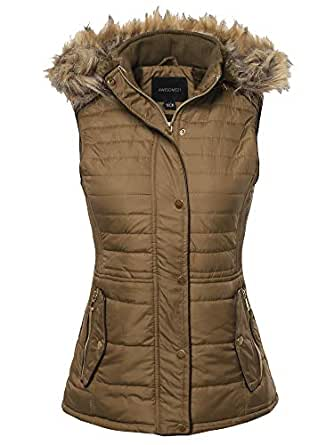 Awesome21 Solid Thicken Vest Quilted Padding Puffer Vest Mocha S