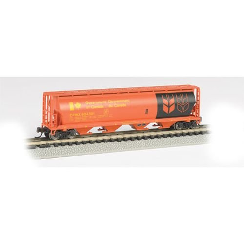Bachmann Industries Inc. Canadian 4-Bay Cylindrical Grain Hopper Government of Canada - N Scale, Red