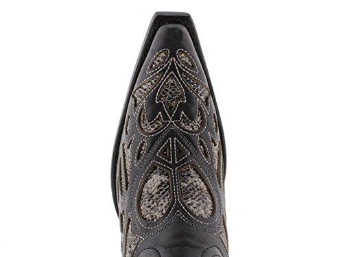 Cowboy Professionella Kvinna Svart Python Hjärta Inlägg Läder Cowboy Stövlar