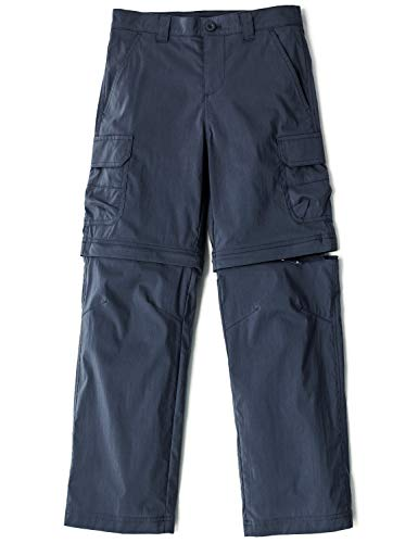 CQR Kids Outdoor Adventure Youth Pants Hiking Camping Stretch Durable UPF 50+ Quick Dry Cargo Trousers, Driflex(bxp432) - Navy, X-Small (6/7)
