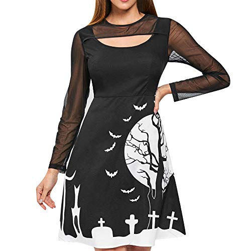 LOKODO Women Halloween Party Patchwork Print Zipper Long Sleeve Knee Length Dress Make up Party Dress Black M