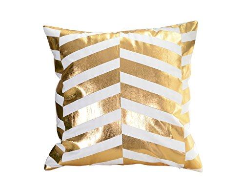 Gold Pillowcase Striped (Molotu Throw Pillow Case Cover Bronzing Gold Striped Square Cushion Cover Home Decorative Pillowcase (18