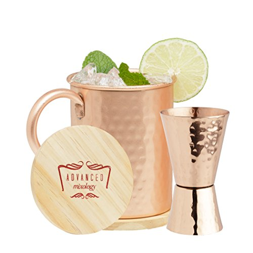 Advanced Mixology Double Sided Jigger 100% Hammered Pure Copper 1oz/2oz for Perfect Cocktails (Hammered) by Advanced Mixology (Image #1)