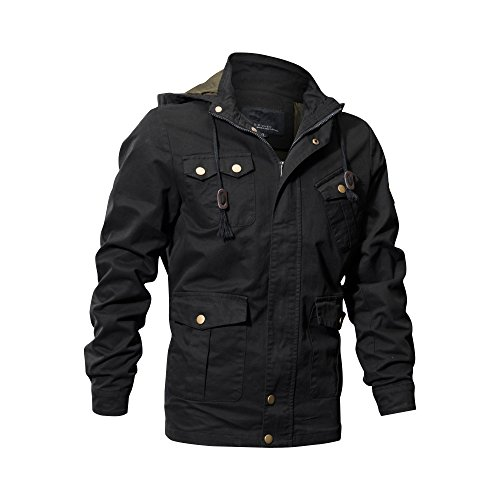 Buytop Men's Cotton Jacket Casual Military Windbreaker Jacket Cotton Trucker Outerwear(BT-Cotton Jacket-2601Black-S)