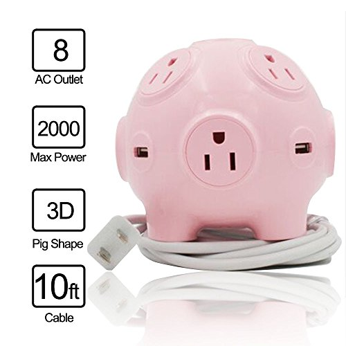 - Lobemoky Space Save Power Strip with 4 USB Ports 8 AC Outlets 2000W High Power Cute Pig Toy 3D Cube Housing Fireproof Smart Charging for Home Office Use