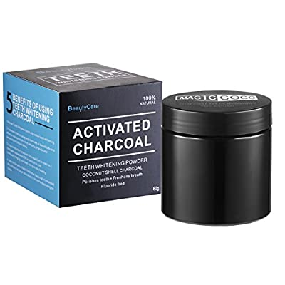 Beauty Care Activated Charcoal Teeth Whitening Powder 2.1 Oz - Organic Coconut Charcoal - 100% Na)tural - Gift Set