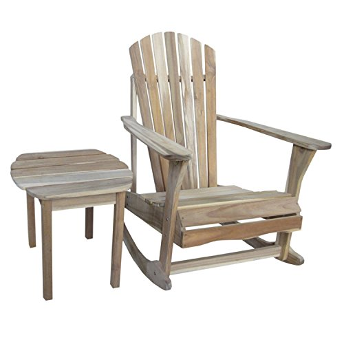 - International Concepts Adirondack Rocker with Side Table, Unfinished, Set of 2