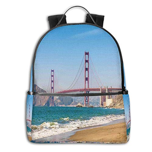 College Backpacks for Women Girls,Panoramic View Of Golden Gate Bridge San Francisco Coastline Nature Seascape,Casual Hiking Travel Daypack (Best Weekend Getaways From Sf)