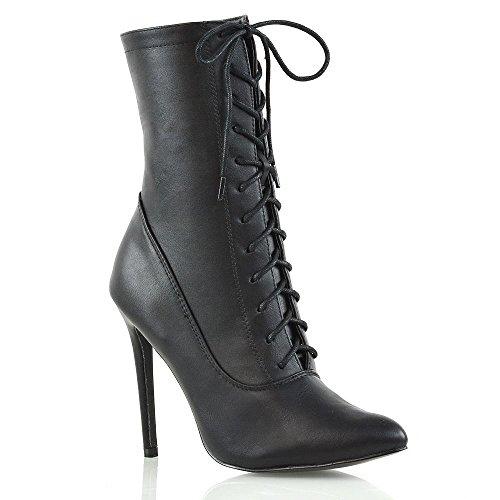 Black Leather Biker Boots Womens - 2