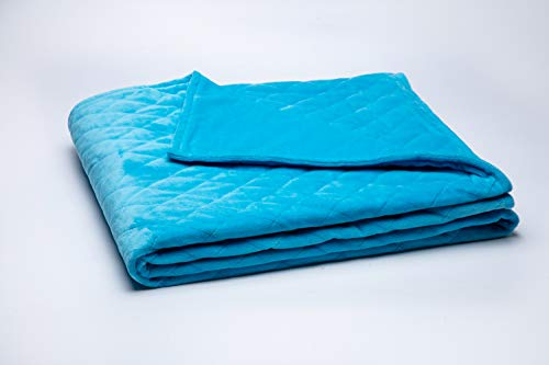 Finslep Sky Blue Minky Weighted Blanket Cover | Allover Quilted | Minky Blanket Cover with YKK Zip | New Technology Stitching | Washable Cotton Padded (Sky Blue, Minky Duvet Cover ()