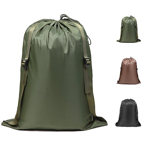 Laundry Bag Backpack (DOKEHOM DKA0008GN Large Laundry Backpack with Adjustable Durable Shoulder Straps, Collapsible Washing Laundry Bag, Available in 3 Colors (Army Green))