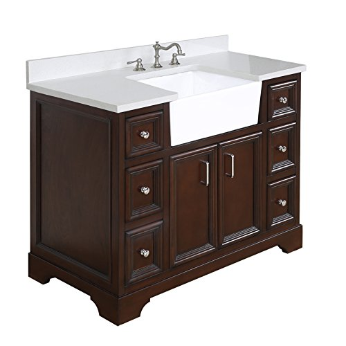 Fairmont Designs Bath Vanities - Zelda 42-inch Bathroom Vanity (Quartz/Chocolate): Includes a Quartz Countertop, Chocolate Cabinet with Soft Close Doors & Drawers, and White Ceramic Farmhouse Apron Sink