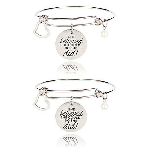 Women's Charm Bracelets 2Pcs Christmas Gifts for Teen Girls Her She Believe She Did So She Could Bangle Expandable Engraved Jewelry Stocking Stuffers Birthday Inspirational Gift for Women Daughter
