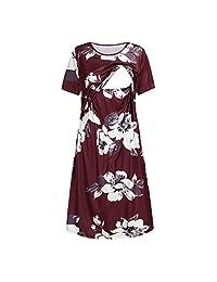 SUSENSTONE Maternity Dress Women Comfort Short Sleeve Floral Print Nursing Sundress Breastfeeding Plus Size