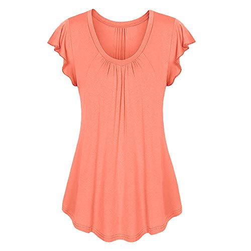 (Women Pullover Short Sleeve Tunics Shirt Solid Color Ruched Irregular T-Shirt Tops Scoop Neck Sweetheart Top Orange)