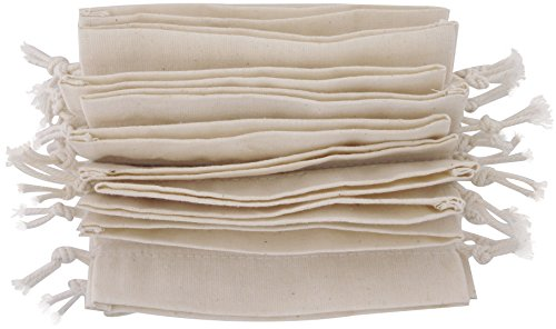 100 Percent Cotton Muslin Bags with Drawstring, 12-Pack (5 x 7 inch, White)