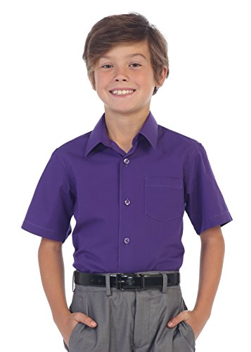 Gioberti Boy's Short Sleeve Solid Dress Shirt, Purple B, - Boys Shirt Dress Purple
