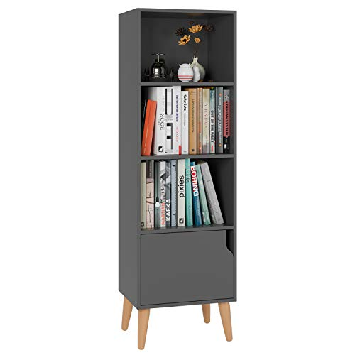 - Homfa 4 Tier Floor Cabinet, Free Standing Wooden Display Bookshelf with 4 Legs and 1 Door, Side Corner Storage Cabinet Decor Furniture for Home Office, Gray
