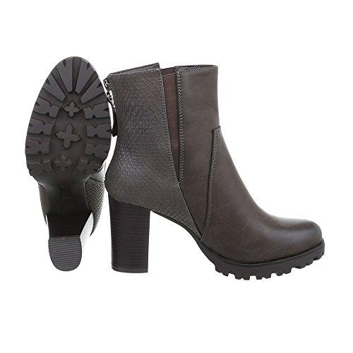 Ital-Design High Heel Stiefeletten Damenschuhe Schlupfstiefel Pump Moderne Reißverschluss Stiefeletten Grau