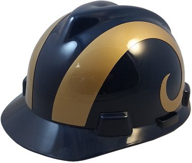 NFL Team Safety Helmets with One-Touch Adjustable Suspension and Hard Hat Tote - Saint Louis Rams