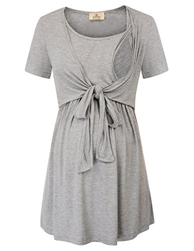 Fashion Women Soft Tie Front Nursing Tops Grey M ()