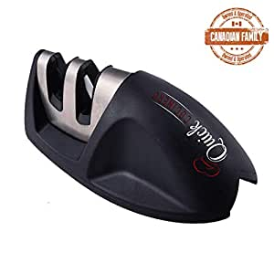 Quick Cocinero Knife Sharpener, 2 Stage Professional Kitchen Knife Sharpening System with Ceramic and Diamond Sharpener, Designed for Straight Edge Kitchen Ceramic, Steel Blades, Black - Knife Sharpeners