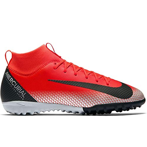 Nike Youth Soccer Jr. SuperflyX Academy CR7 Turf Shoes (5 M US Big Kid), Bright Crimson/Black-chrome-dark Grey ()