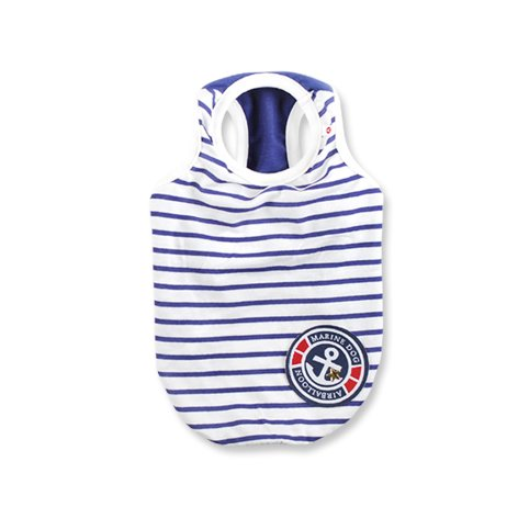 Frenchie Pet Apparel Red Stripe Cooling Tank T-Shirt for French Bulldog or Pug Wear (BLUE) by Pet Apparel