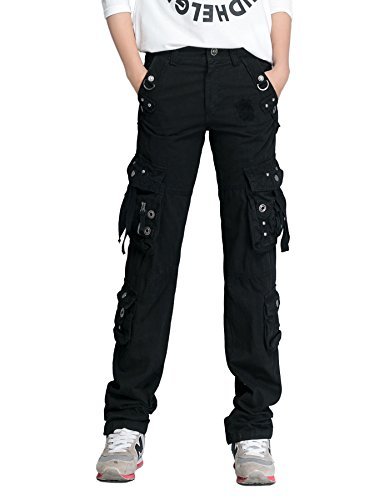 Xudom Womens Casual Cargo Pants with Multi-Pockets Cotton Long Trousers for Hiking