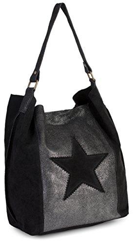 main épaule LIATALIA à moutarde à pour en Jaune hobo suède sac motif Large femme porté étoile slouch cabas style italien Noir 'Serene' TttxwAFpq