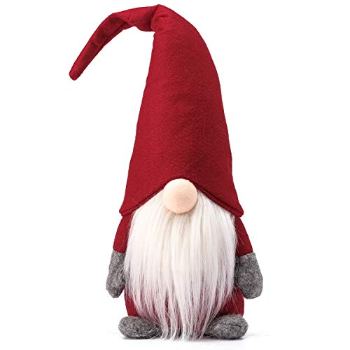 Funoasis Holiday Gnome Handmade Swedish Tomte, Christmas Elf Decoration Ornaments Thanks Giving Day Gifts Swedish Gnomes tomte 16 Inches/Red (Holiday Handmade Decorations)