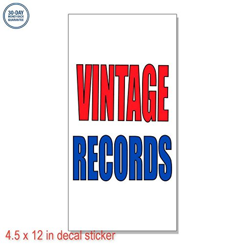 Vintage Records Label Decal Sticker Retail Store Vinyl Sign - Sticks to Any Clean Surface 4.5 x 12 in -