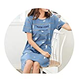 Summer Nightdress Women Cotton O-Neck Women Nightwear Cotton Short Sleeve Sleepwear Women Sexy Nightgown Plus Size Home Dress,Nightgown women12,L