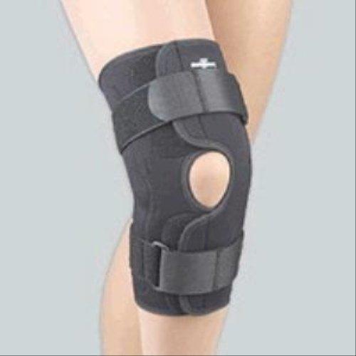 FLA 37-350MDBLK Safe-T-Sport Wrap-Around Hinged Knee Stabilizing Brace, Black, Medium
