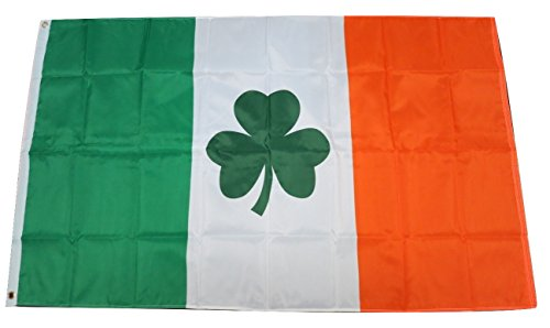 Ireland Irish Shamrock Clover St. Patrick National Country Flag 3x5 Feet Printed Flag with Grommets by TrendyLuz Flags