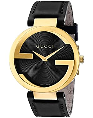 Swiss Quartz Gold-Tone and Leather Dress Black Men's Watch(Model: YA133326)