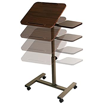 "Seville Classics Tilting Sit-stand Computer Desk Cart With Mouse Pad Table, Height-adjustable From 27.5"" To 40"" H, Walnut 11"