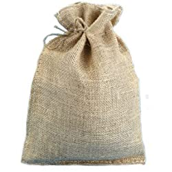 "10"" X 14"" Burlap Bags with Drawstring - Lot of 10"