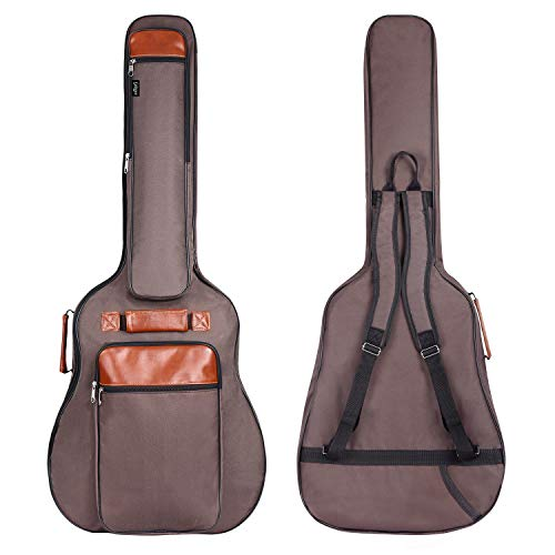 CAHAYA Guitar Bag 40 41 42 Inches 6 Pockets [Upgraded Premium Version] Guitar Case Waterproof Oxford Cloth 0.5 Inch Extra Thick Sponge Overly Padded with 5 Picks & Holder for Acoustic Classical Guitar