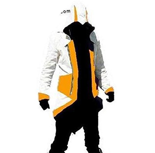 Rulercosplay Assassin's Creed 3 Connor Kenway Hoodie Jacket (XX-Large, White& Yellow)