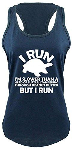Ladies Racerback Tank I Run I'm Slower Than Herd Turtles in Peanut Butter But I Navy XL (Best Choice Peanut Butter)