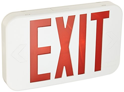 Lithonia Lighting EXR EL M6 Contractor Select Red LED Backup Battery Exit Emergency Sign, Back Text ()