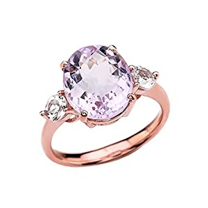 10k Rose Gold Pink Amethyst Modern Promise Ring With White Topaz Side stones