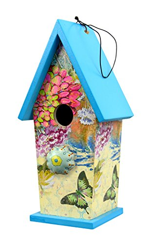 blue-floral-wooden-birdhouse-with-ceramic-knob