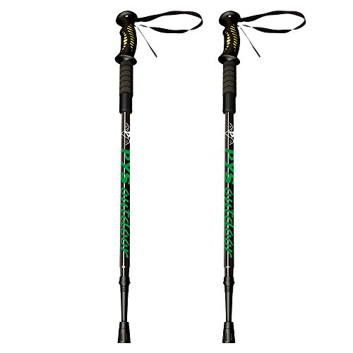 Trail Shock Trekking Poles - pys Trekking Poles - Adjustable Aluminium Telescopic Trekking Trail Poles, Quick Lock, Lightweight & Shock-Absorbent With Terrain Accessories, 1 Pair (Black)