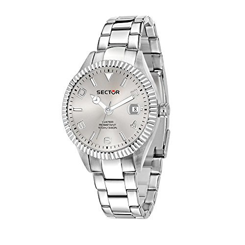 SECTOR Men's 245 Analog-Quartz Stainless-Steel Strap, Silver, 18 Casual Watch (Model: R3253486014