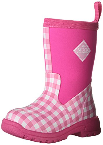 MuckBoots Girls' Breezy Mid Pull-On Boot, Pink Gingham, 10 M US Toddler ()