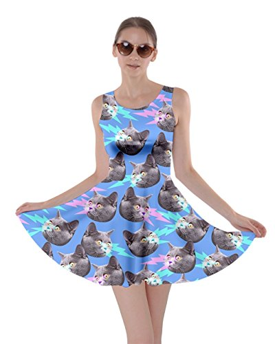 CowCow Womens Angry Cats Blue Skater Dress, Blue - M