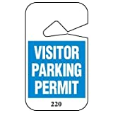 VISITOR..PERMIT/BLUE/#51-100Black/Blue on White 051-100